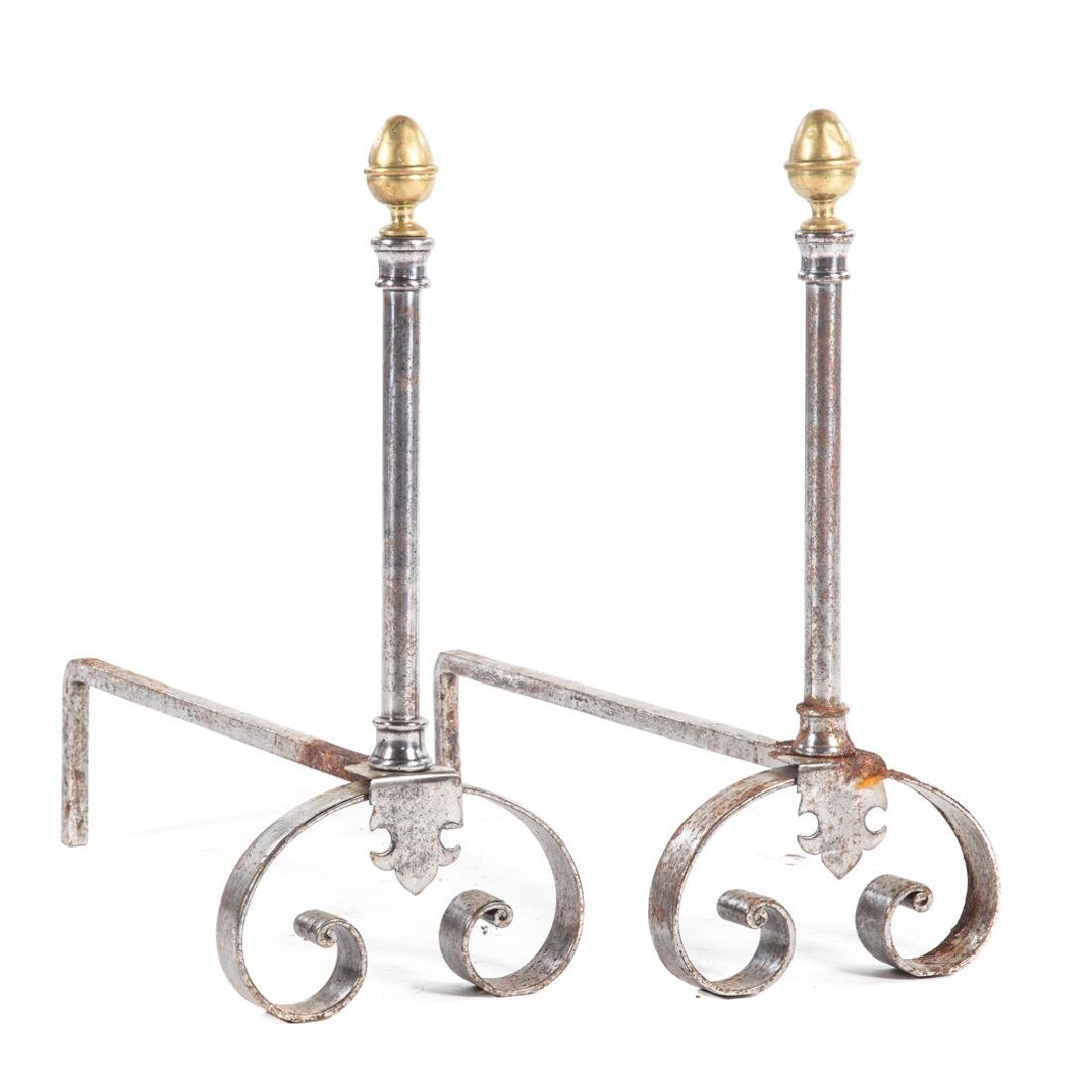 Pair Art Nouveau metal and brass andirons