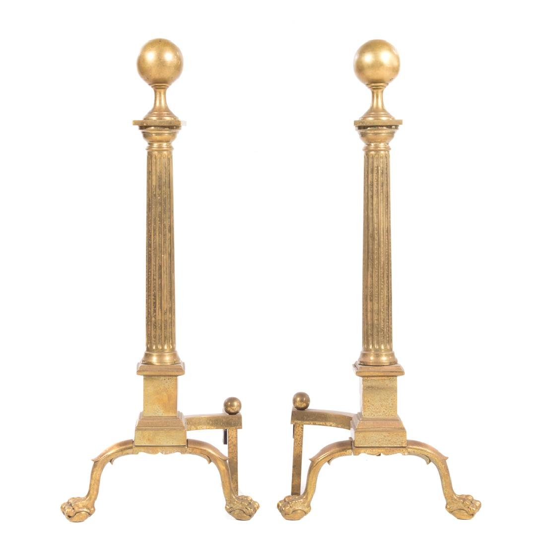 Pair large classical style brass andirons