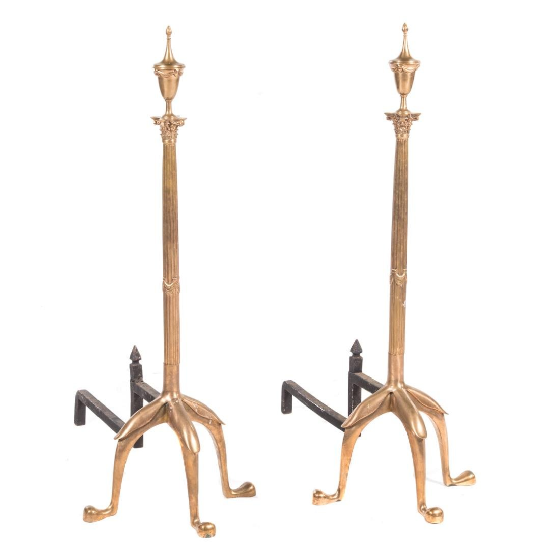 Pair monumental bronze classical style andirons