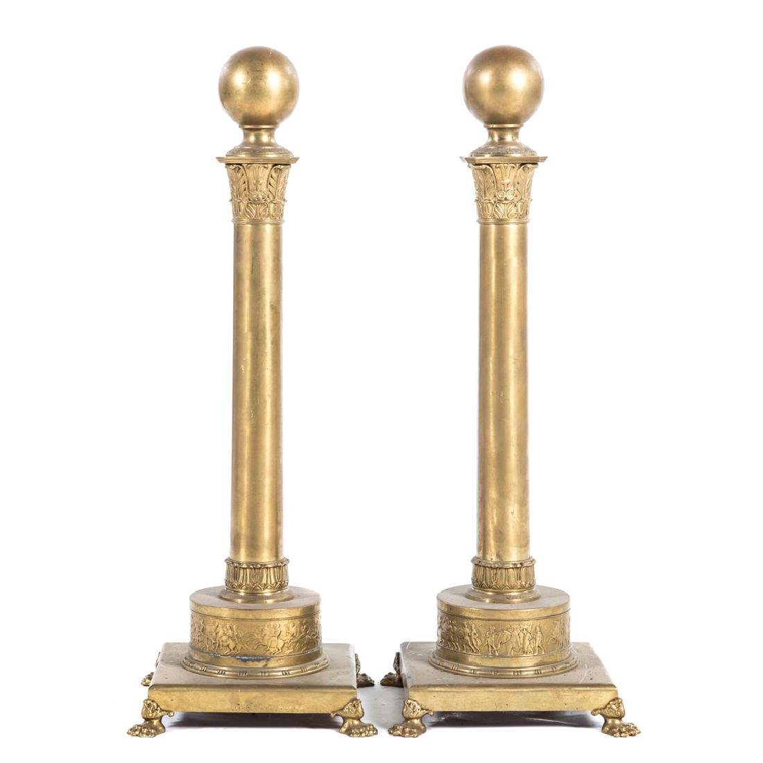 Pair classical style brass andirons