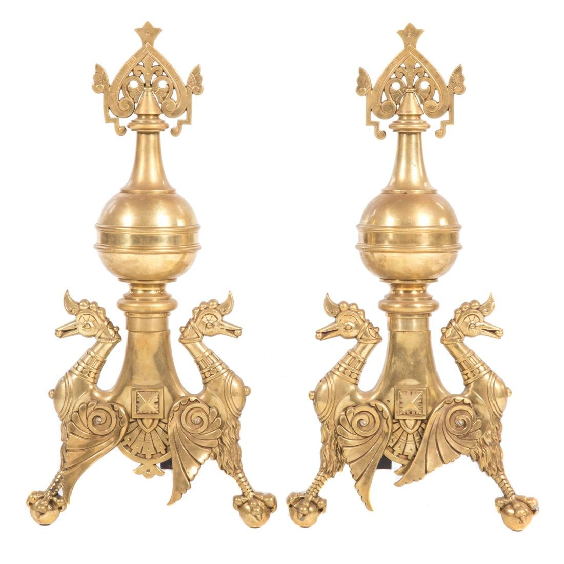 Pair Gothic style brass andirons