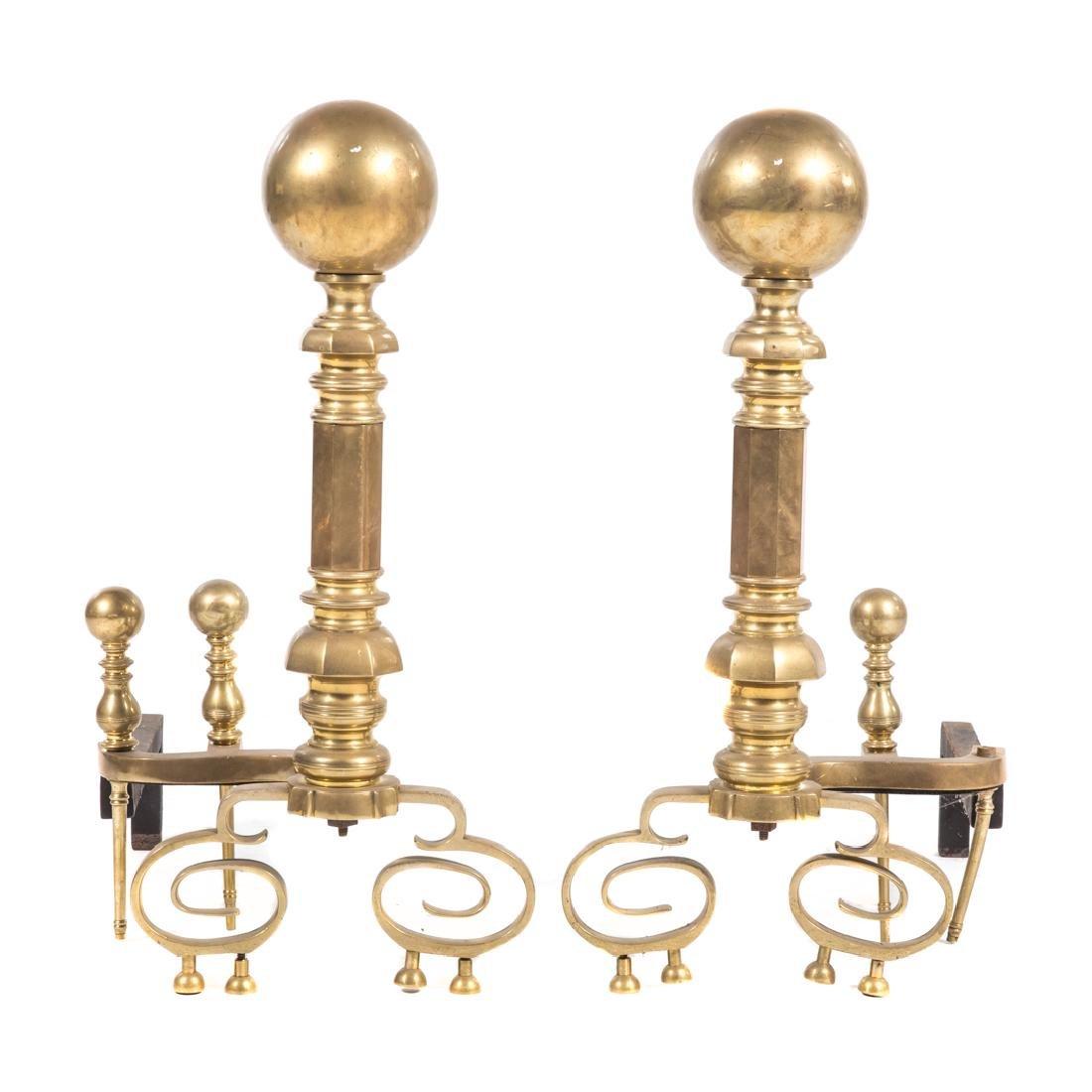 Pair large brass andirons