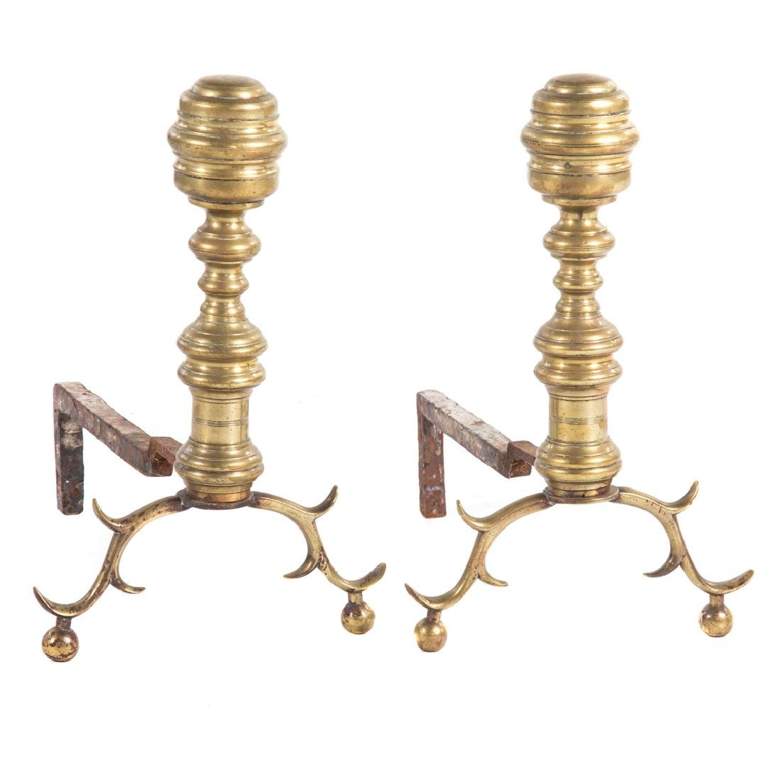 Pair of late federal brass andirons