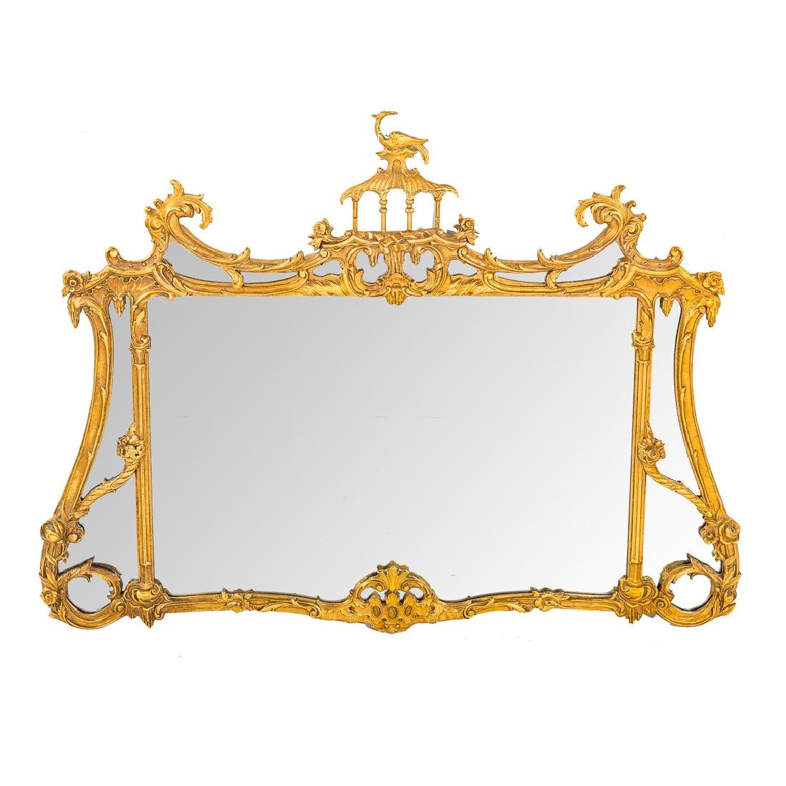 Chinese-Chippendale style gilt over mantle mirror,