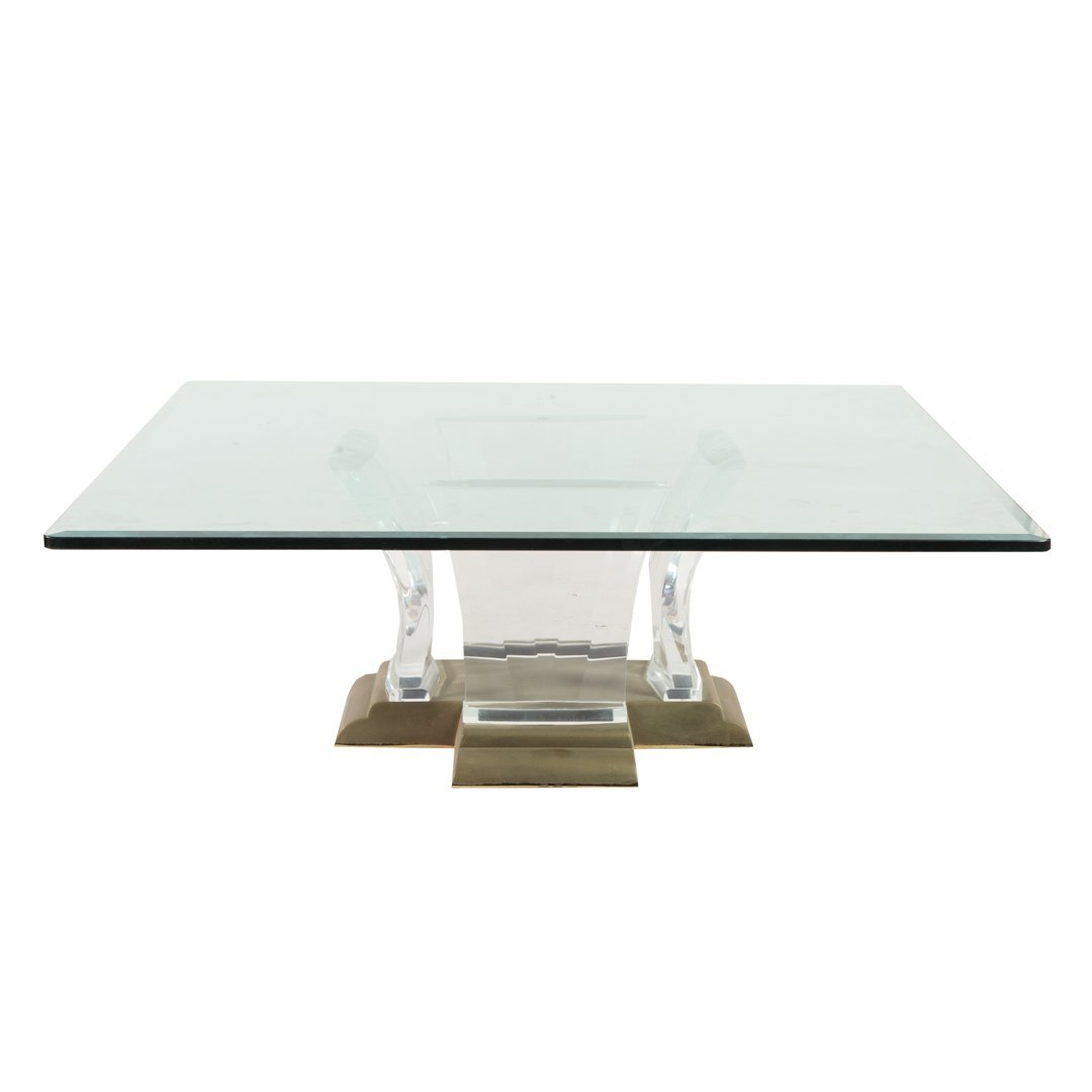 Contemporary lucite & brass glass top coffee table
