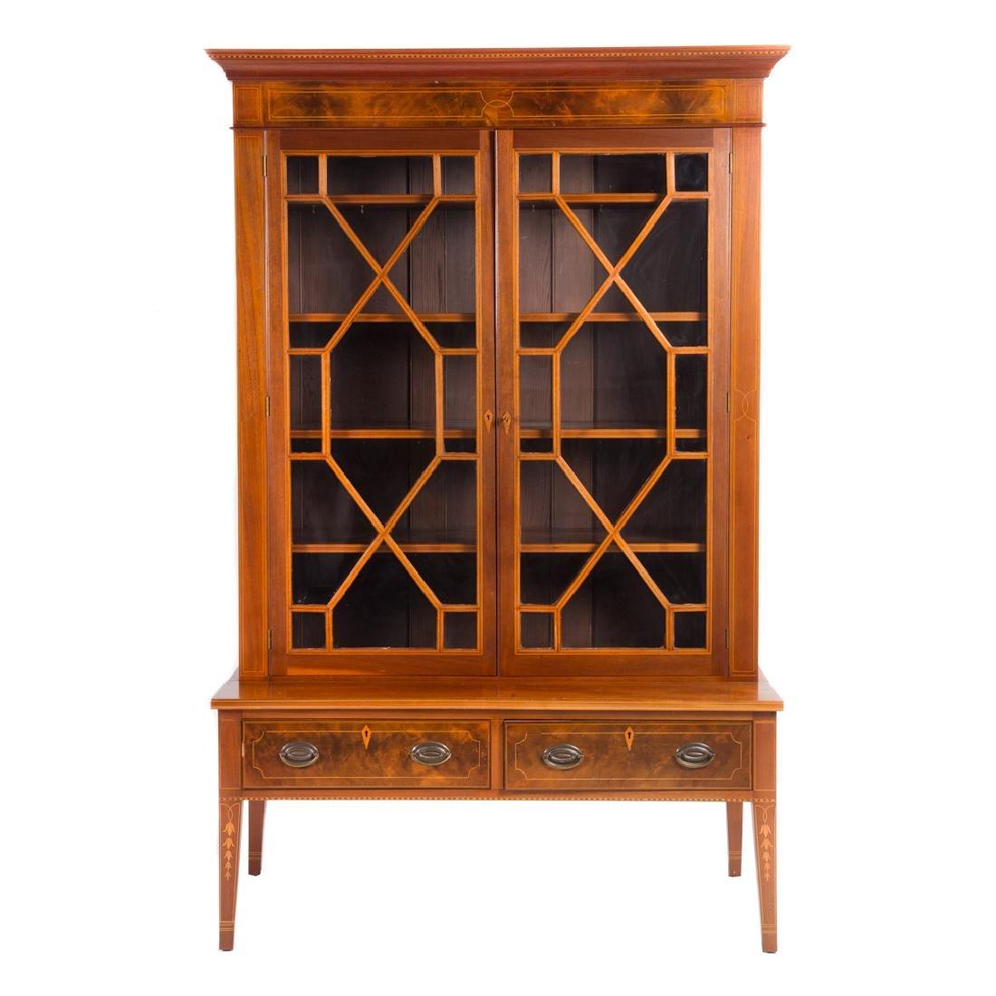 Cabinet made inlaid mahogany china cupboard