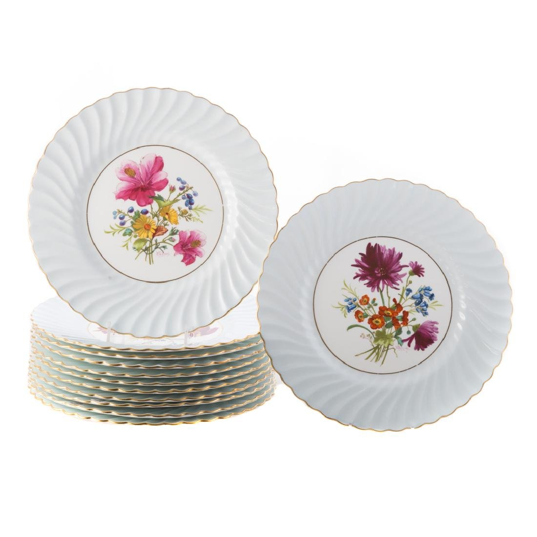 12 Minton floral decorated china dinner plates