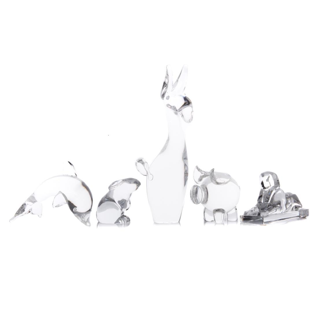 Five assorted Steuben and Baccarat crystal animals