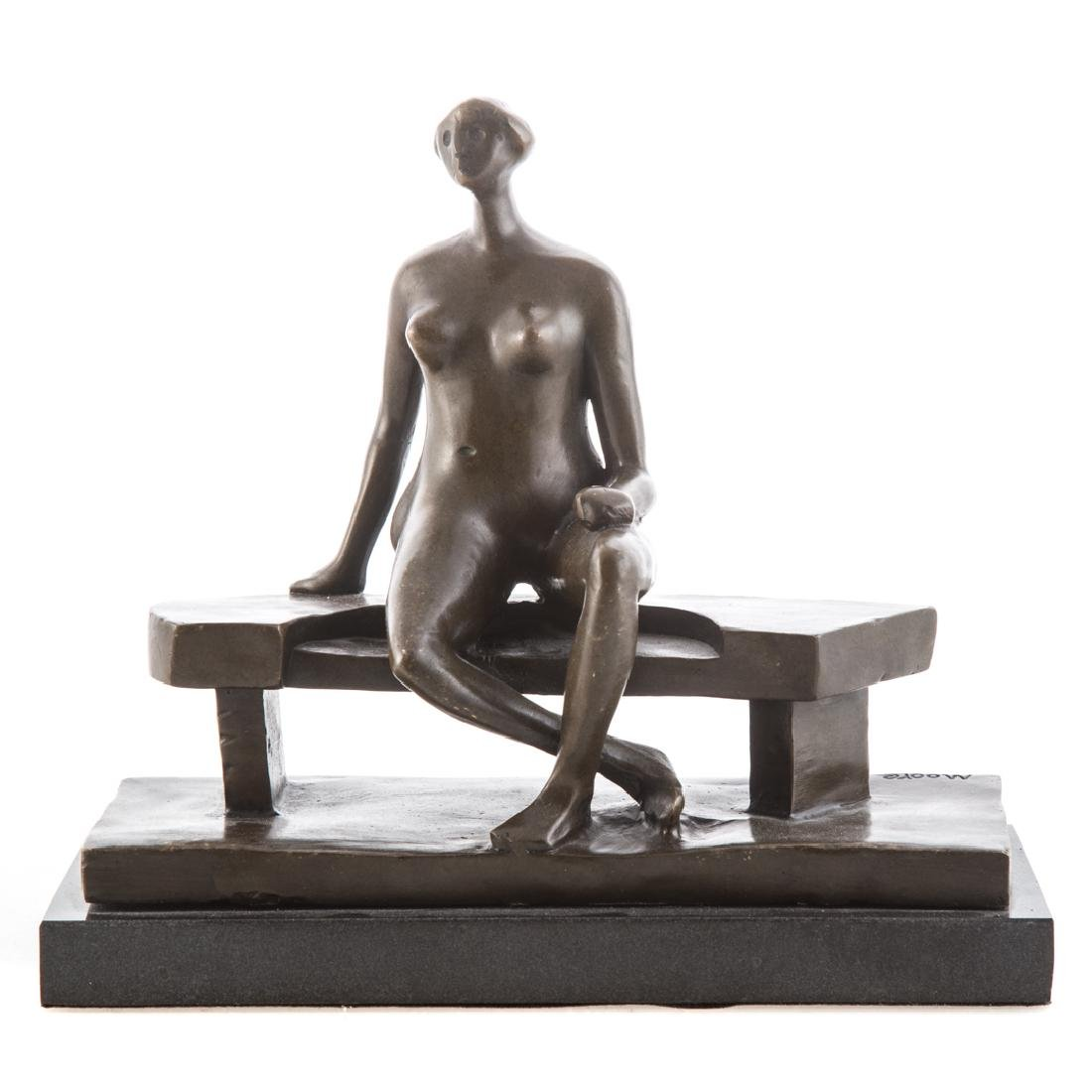 After Henry Moore. Seated Woman bronze