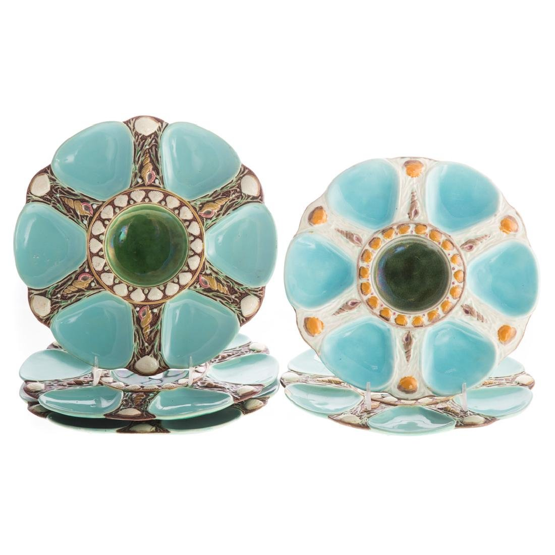 Four Minton majolica oyster plates
