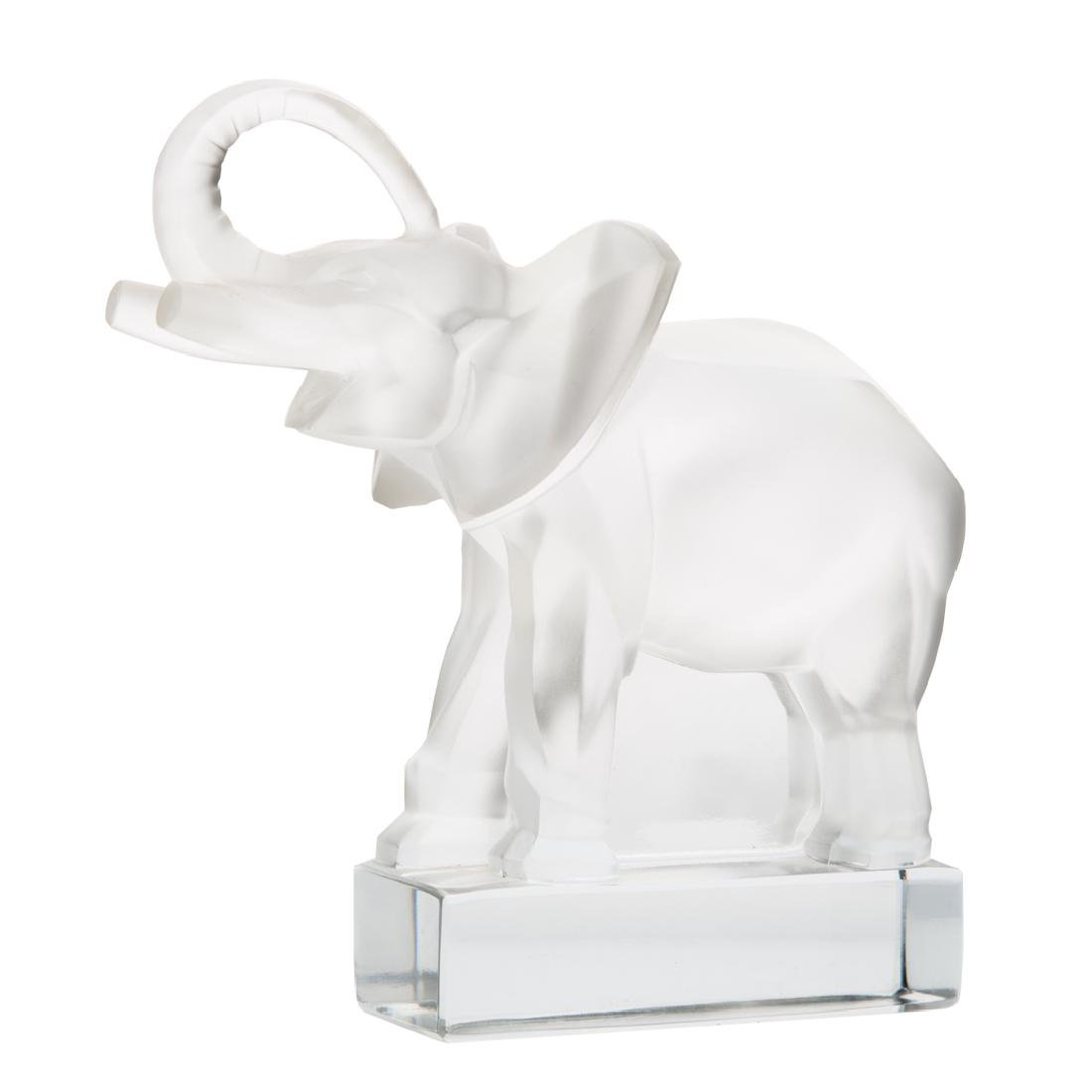 Lalique frosted crystal elephant paperweight