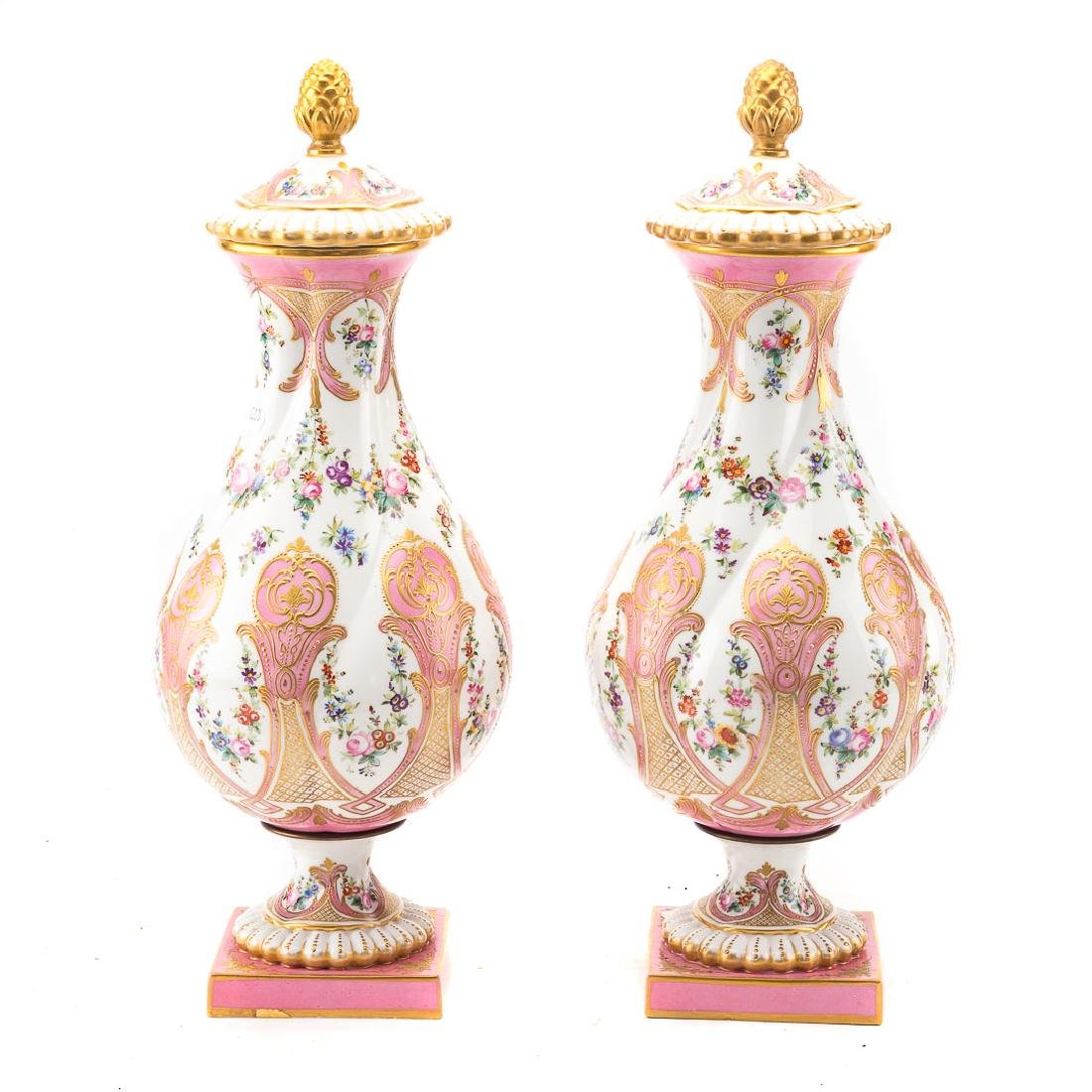 Pair Contemporary Sevres porcelain urns