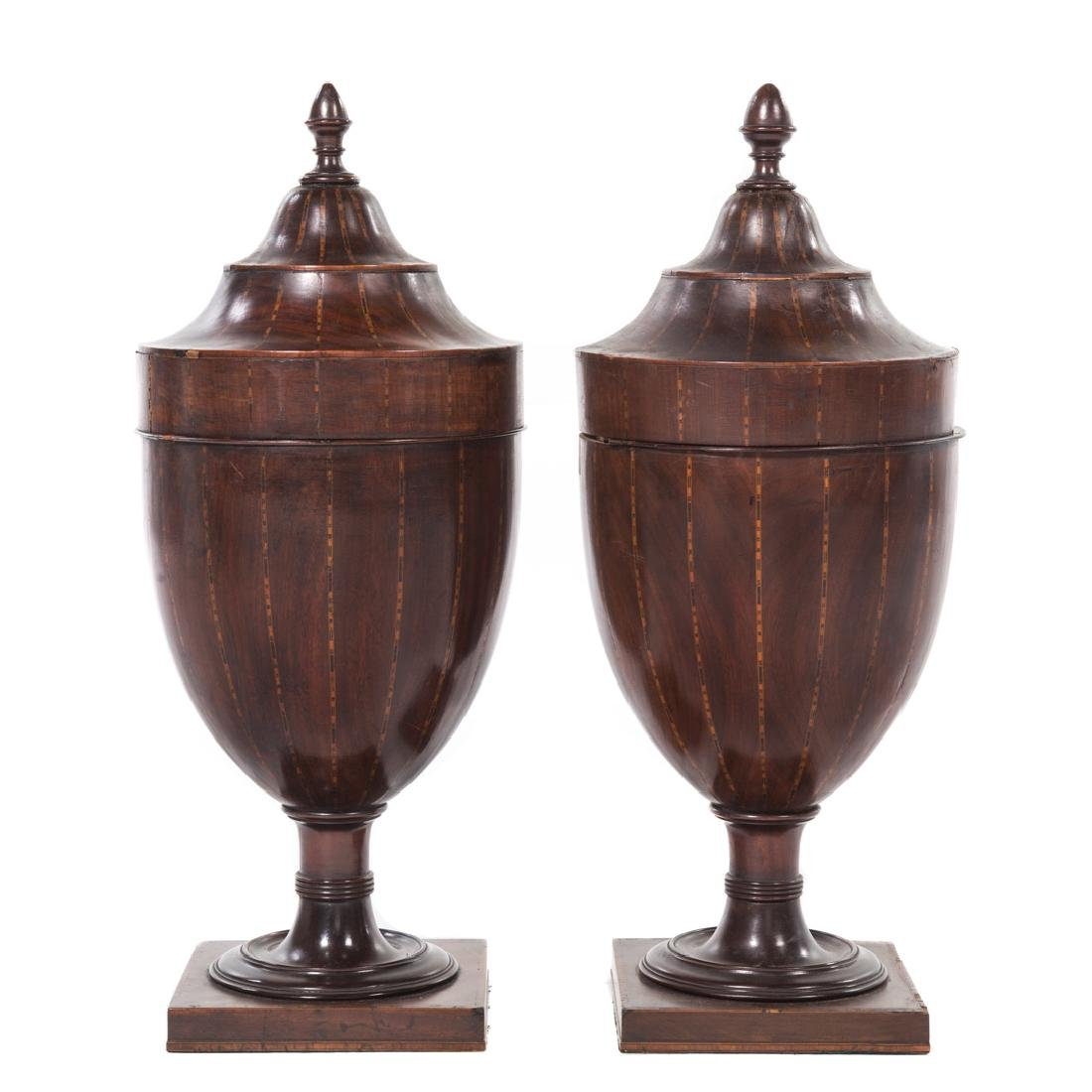 Pair Regency inlaid mahogany knife urns