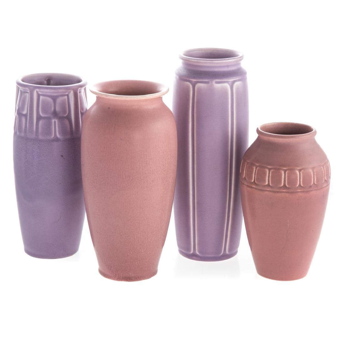 Four Rookwood art pottery vases