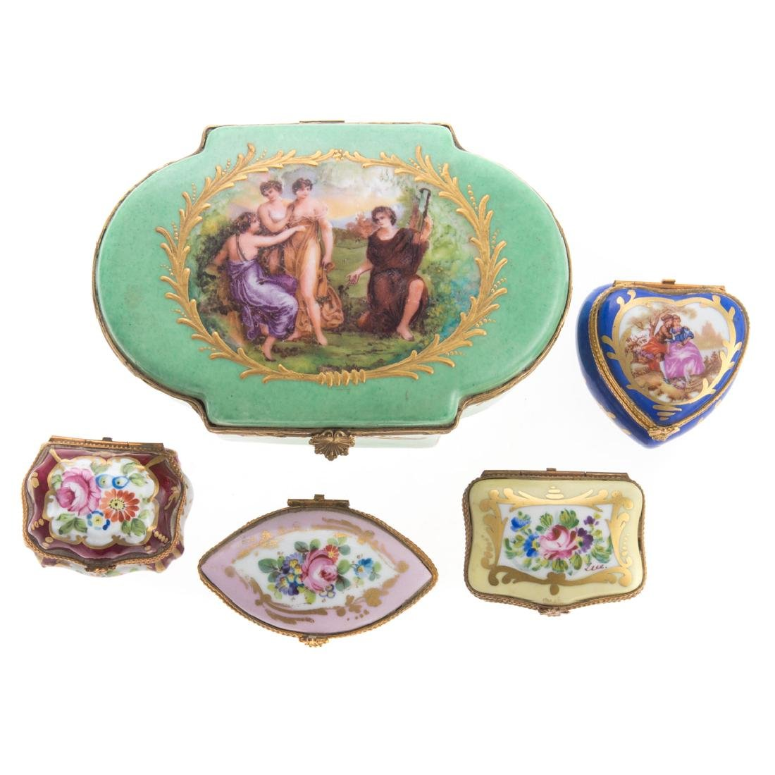 Five French porcelain vanity boxes