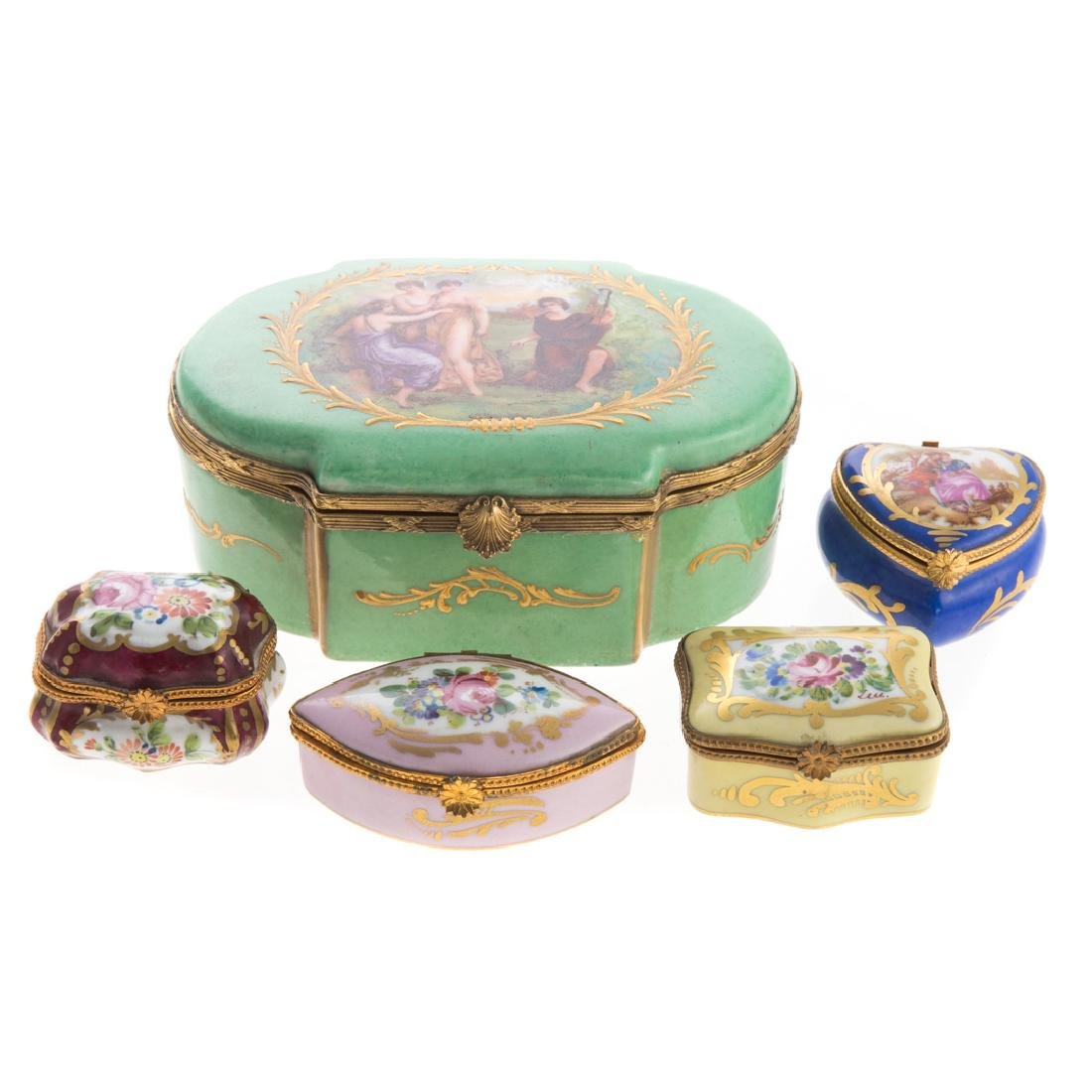 Five French porcelain vanity boxes - 2