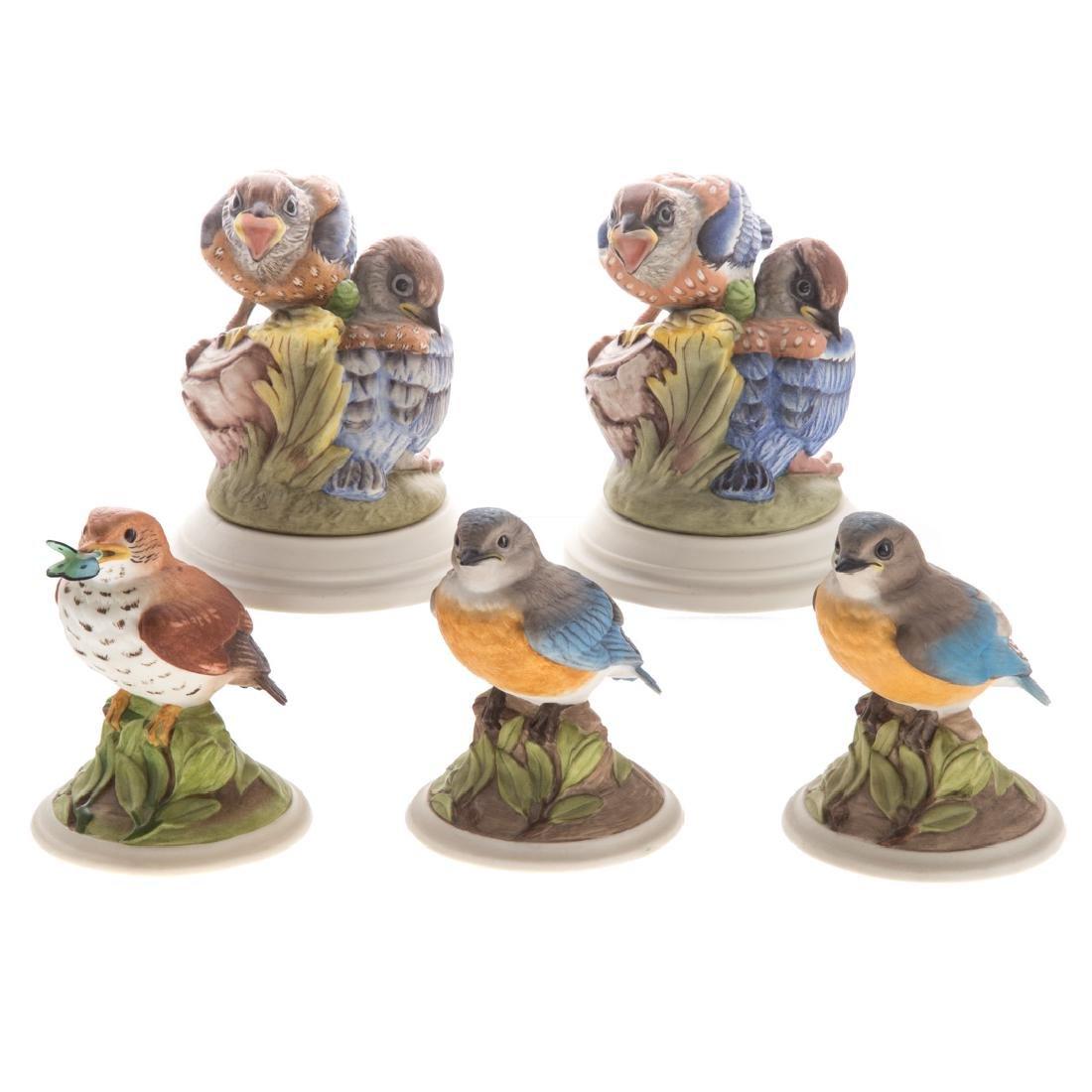 Five Boehm bisque baby/fledging birds
