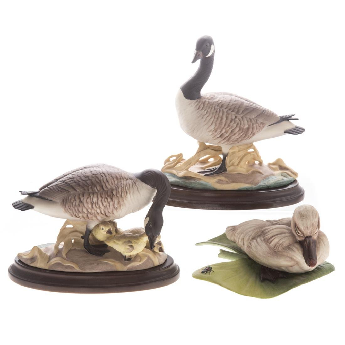 Two Boehm Canada Geese and cygnet