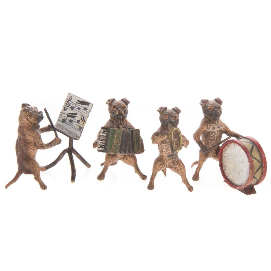 Vienna cold painted bronze dog band - 2