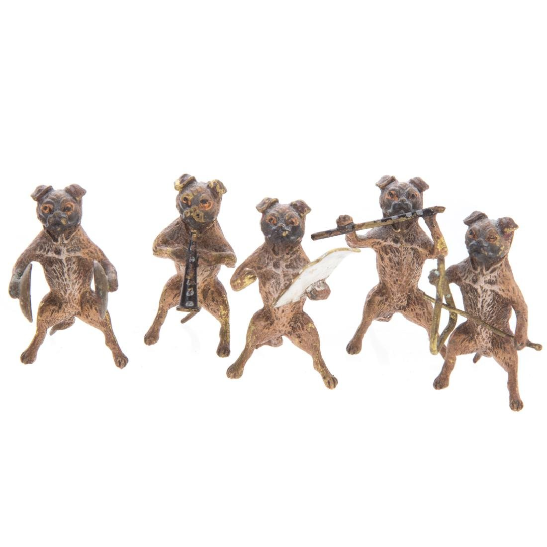 Vienna cold painted bronze dog band - 3