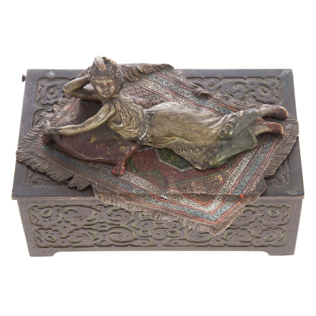 Vienna cold painted bronze cigarette box - 3