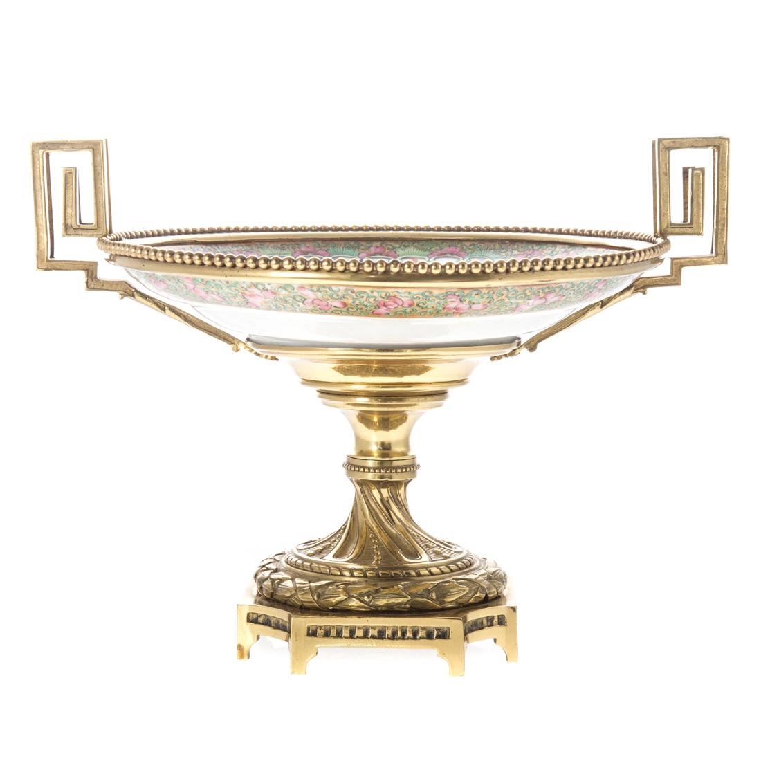 Chinese Export porcelain & brass compote