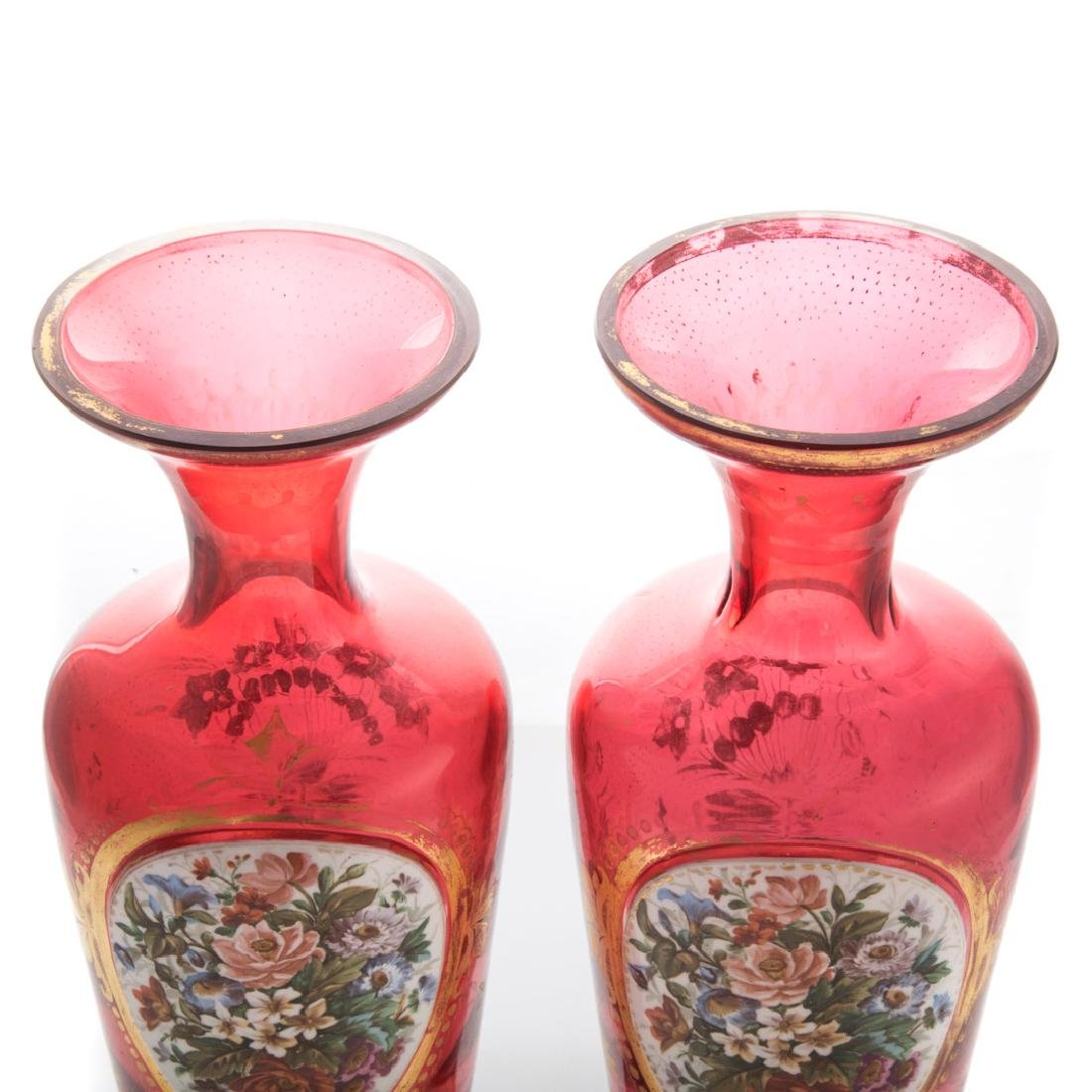 Pair Victorian ruby and enamel glass vases - 3