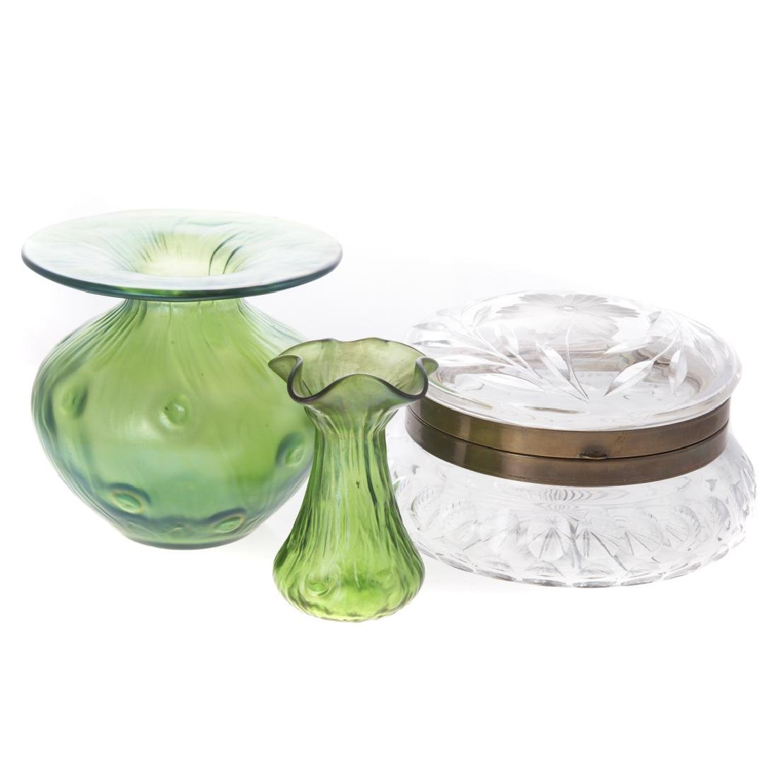 Two German emerald opalescent glass vases