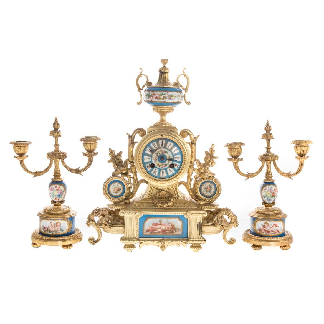 Louis XVI style clock garniture