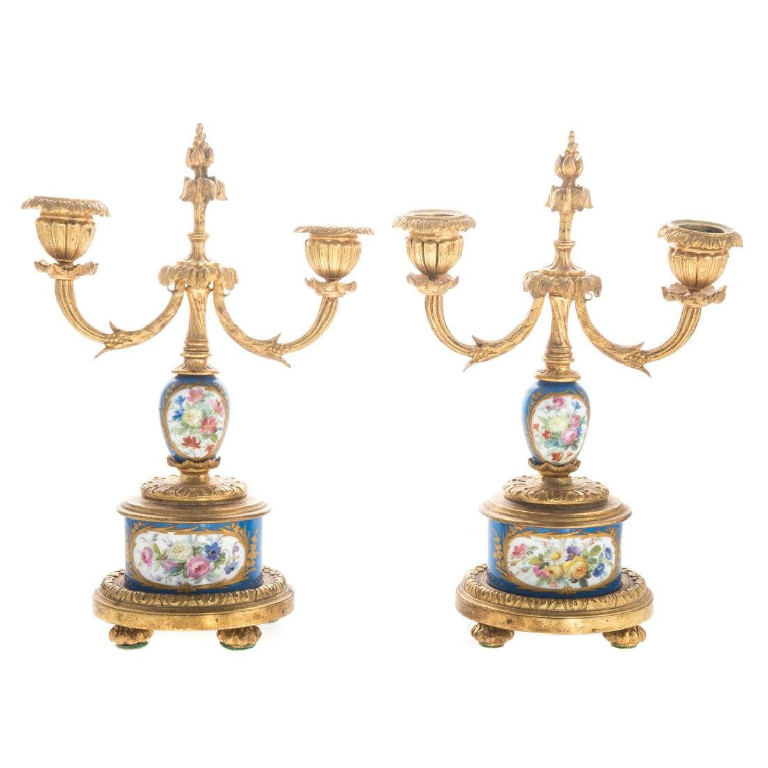 Louis XVI style clock garniture - 7