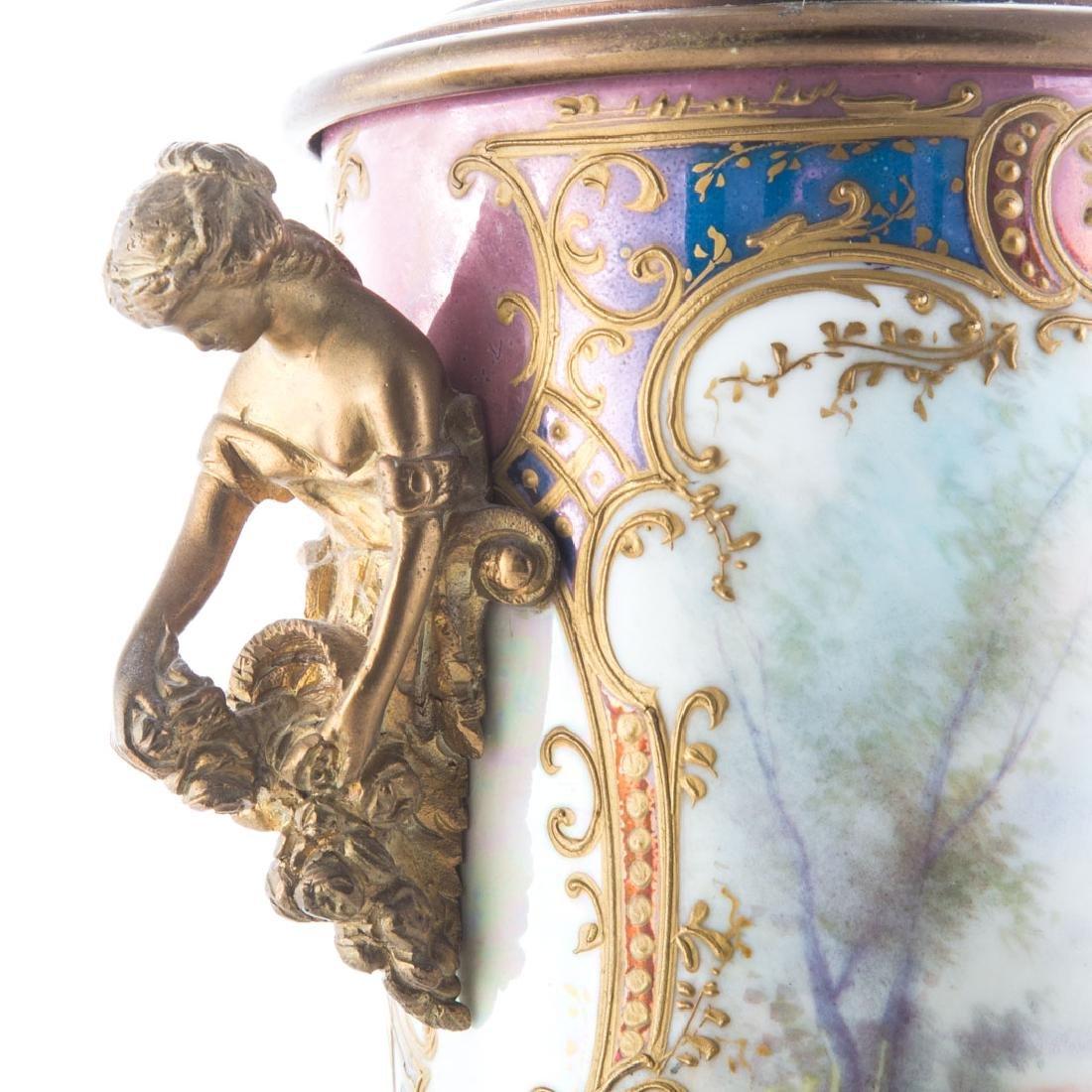 French gilt metal mounted porcelain urn - 3