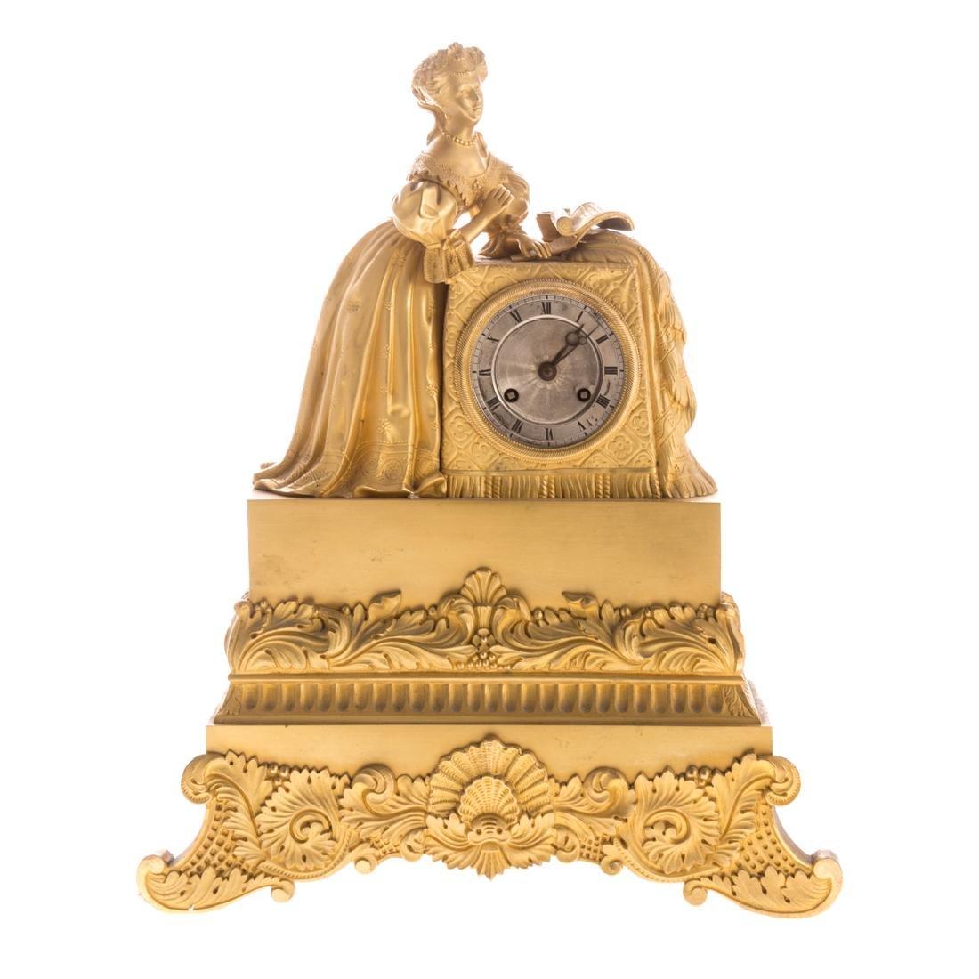French Empire gilt bronze mantel clock