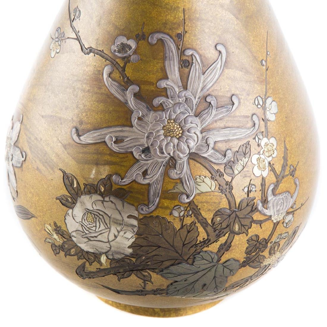 Japanese bronze and mixed metal vase - 2