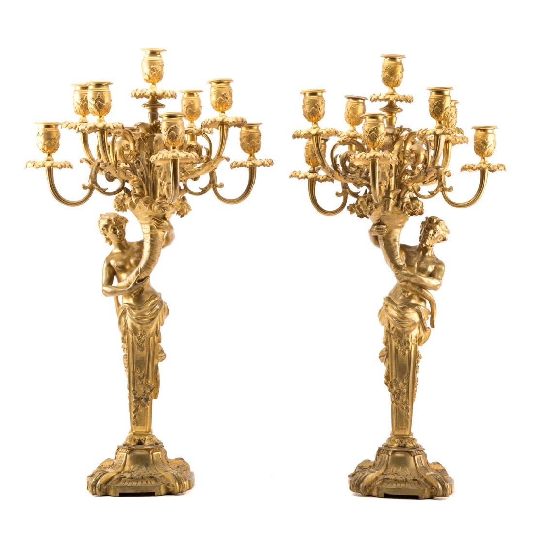 Pair Napoleon III gilt bronze figural candelabra