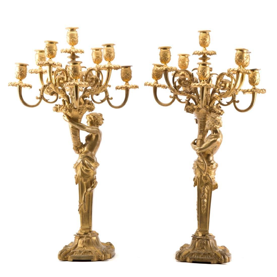 Pair Napoleon III gilt bronze figural candelabra - 2