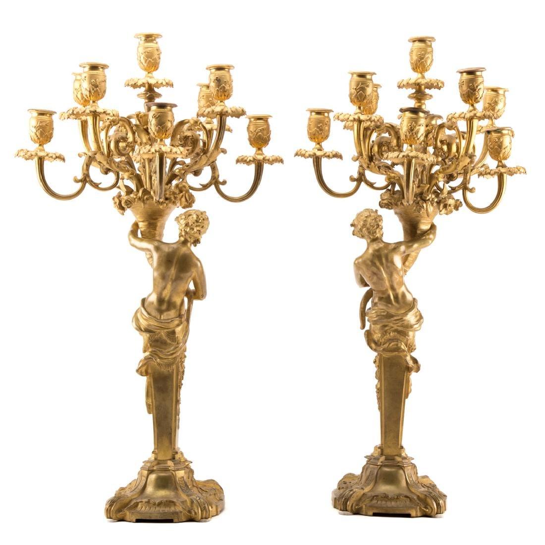 Pair Napoleon III gilt bronze figural candelabra - 3