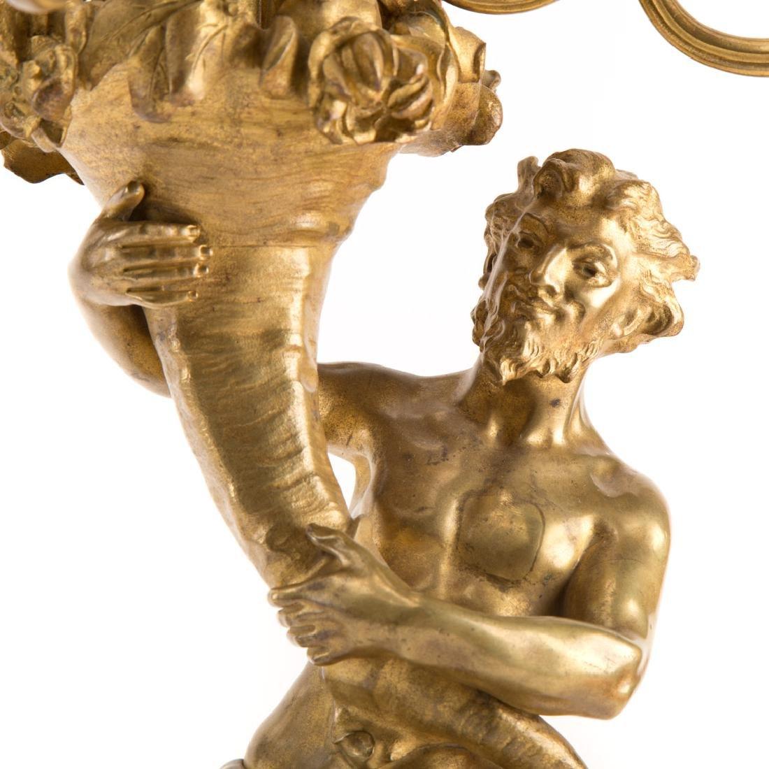 Pair Napoleon III gilt bronze figural candelabra - 5