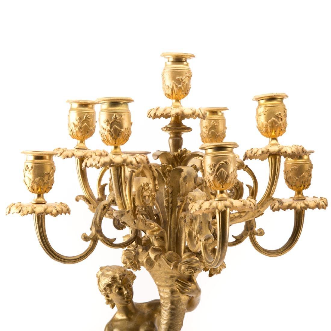 Pair Napoleon III gilt bronze figural candelabra - 6