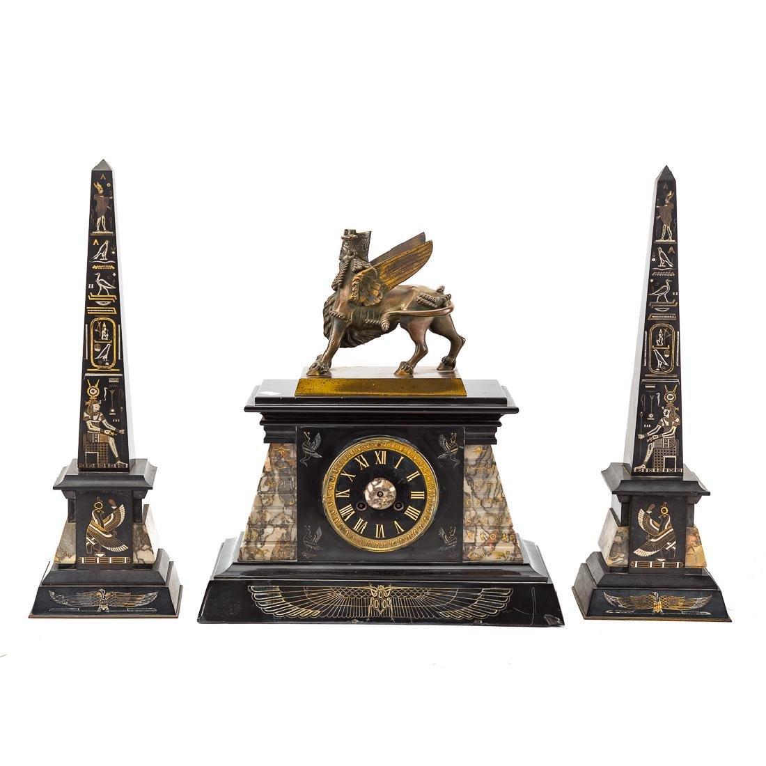 Egyptian revival three piece clock garniture