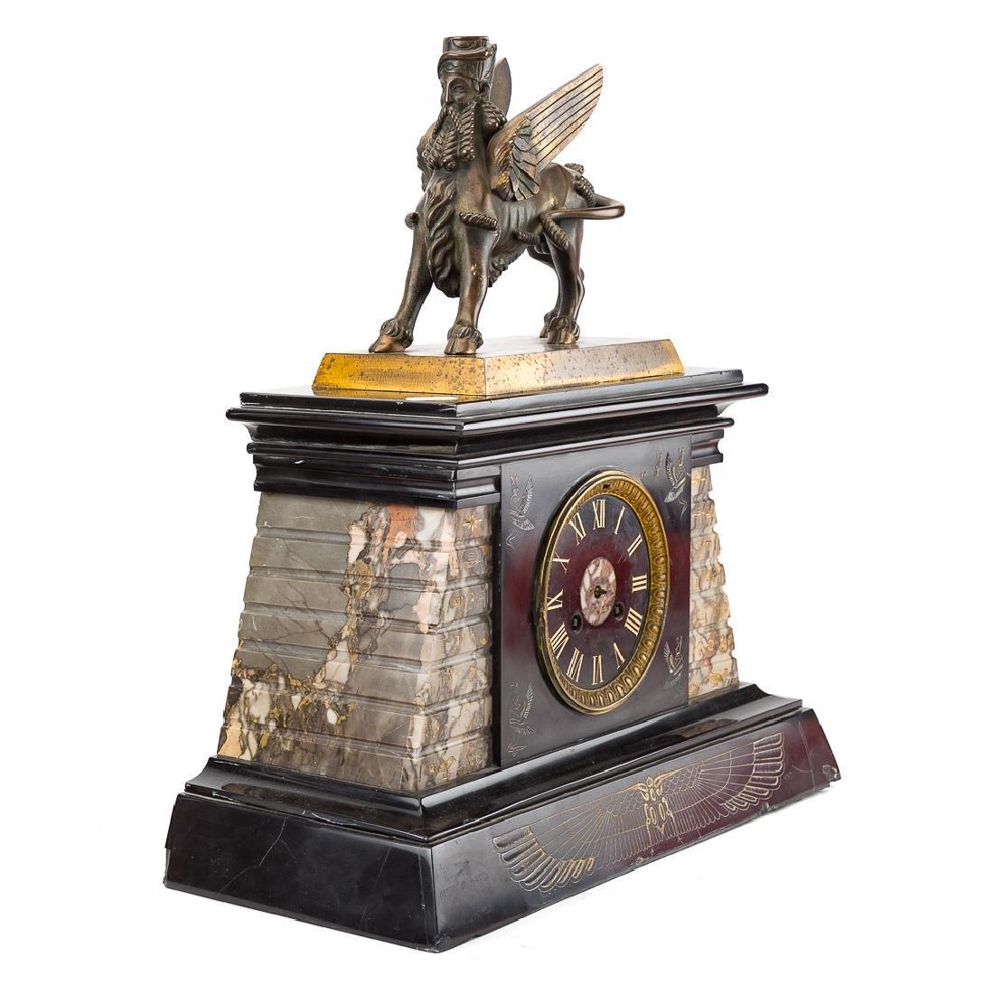 Egyptian revival three piece clock garniture - 2