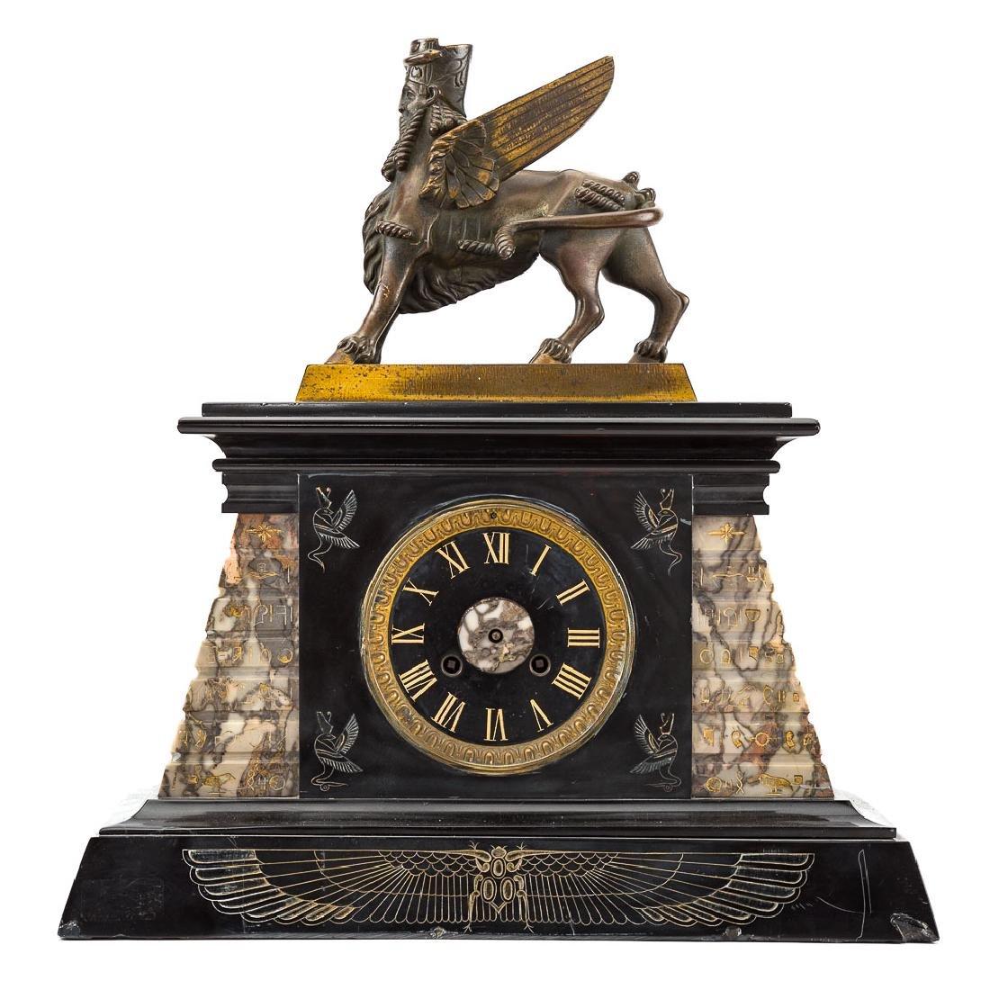 Egyptian revival three piece clock garniture - 4