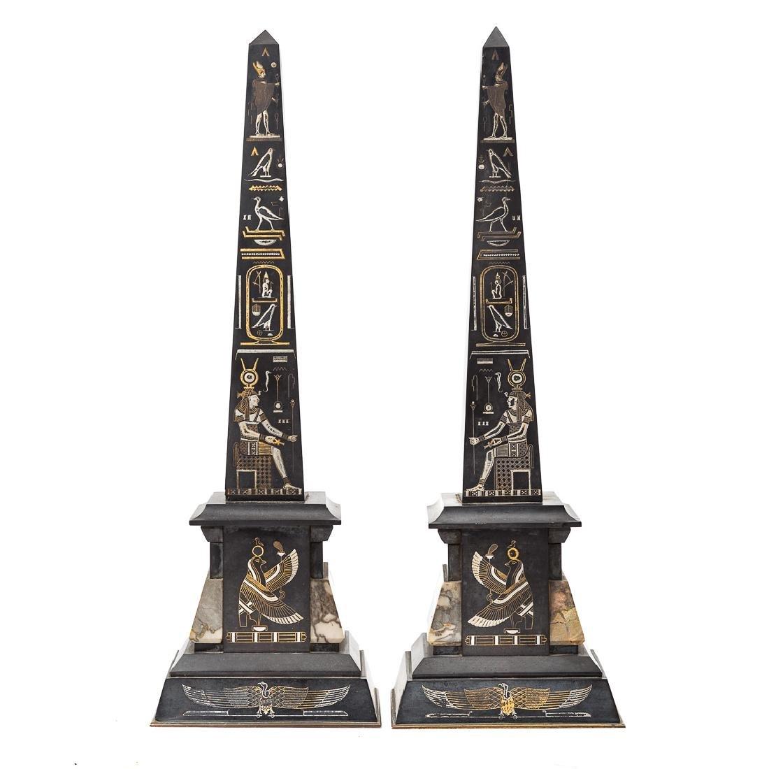 Egyptian revival three piece clock garniture - 5