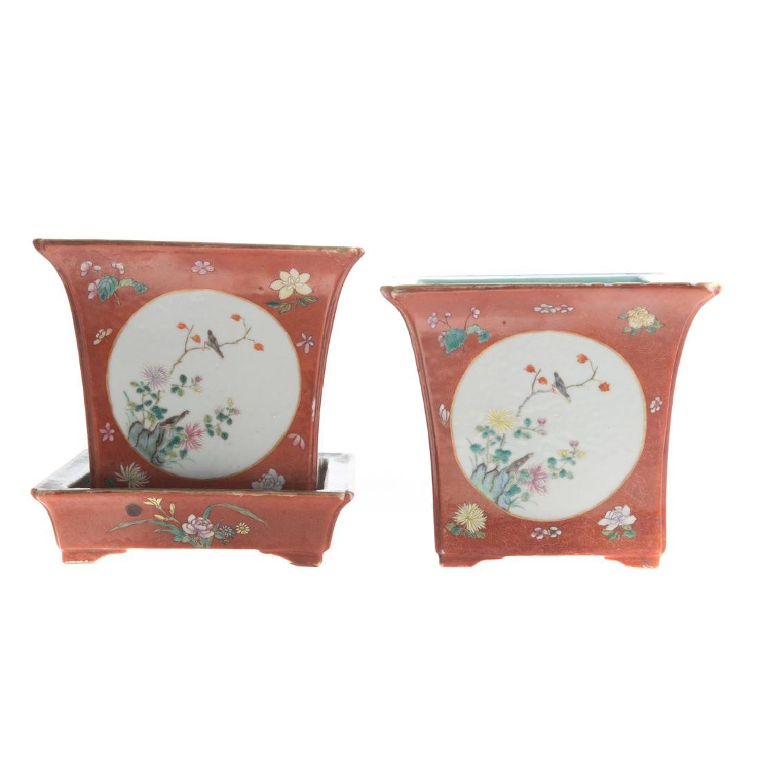 Pair Chinese porcelain jardinieres