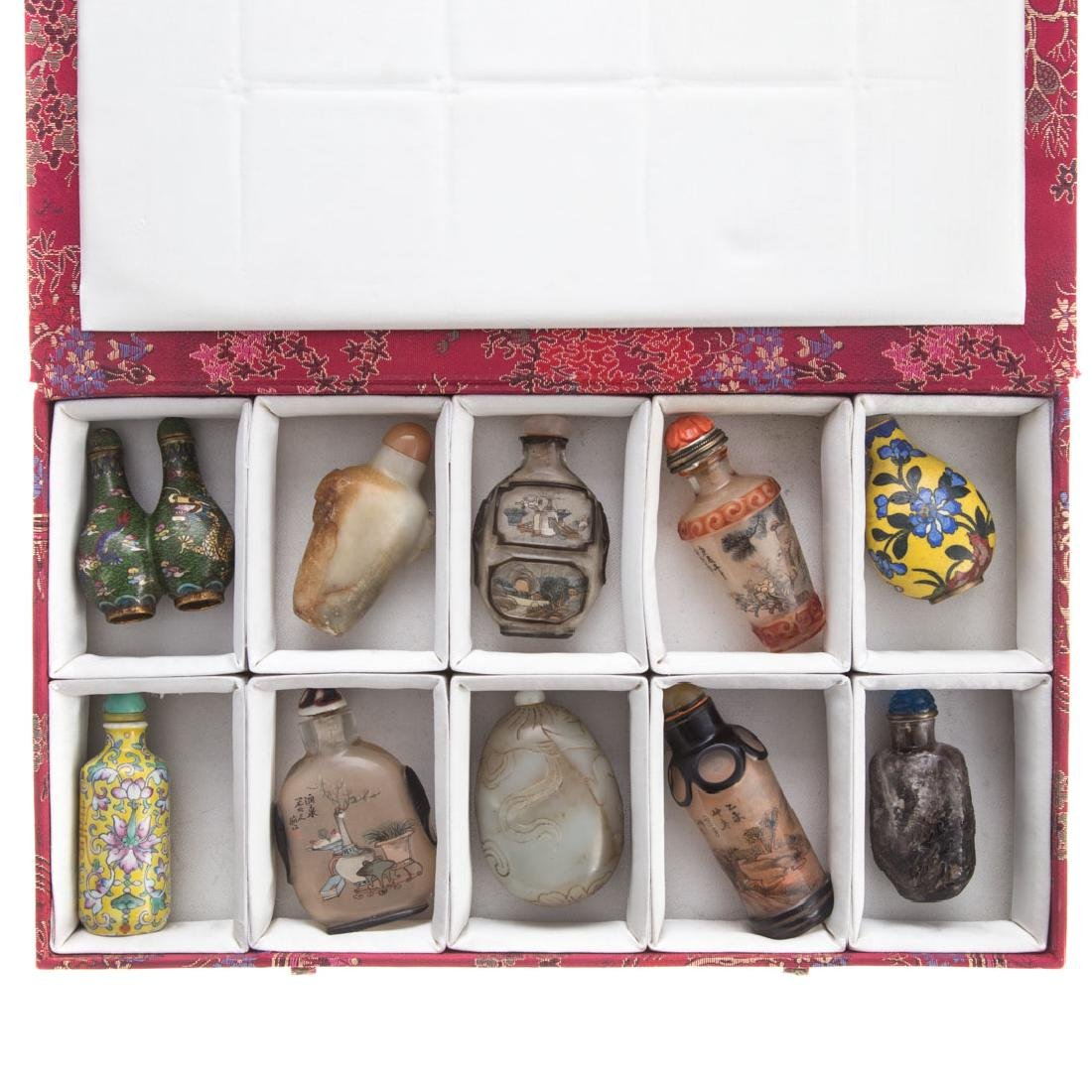 10 Assorted Chinese snuff bottles in fitted case - 2