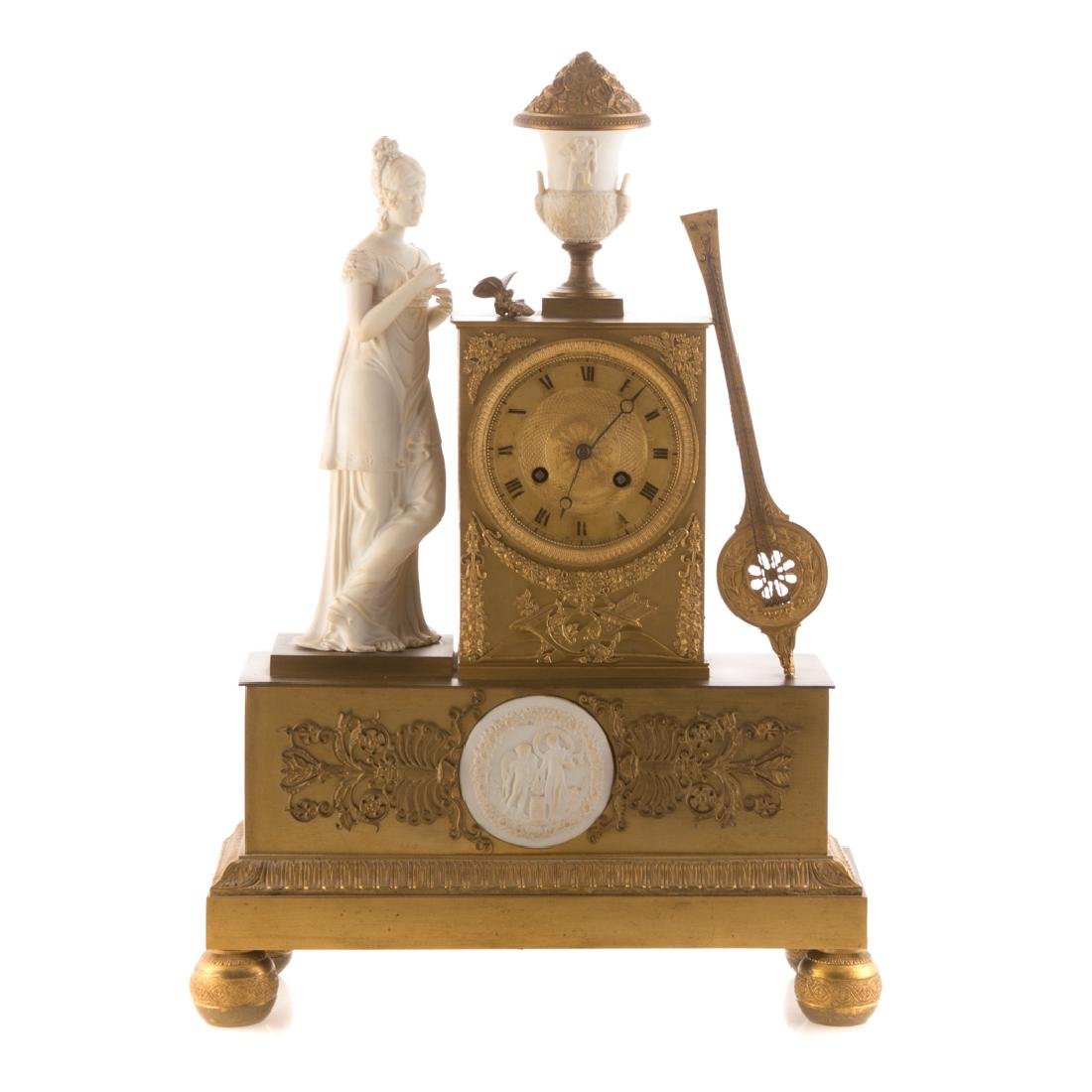 French Empire dore bronze and bisque figural clock
