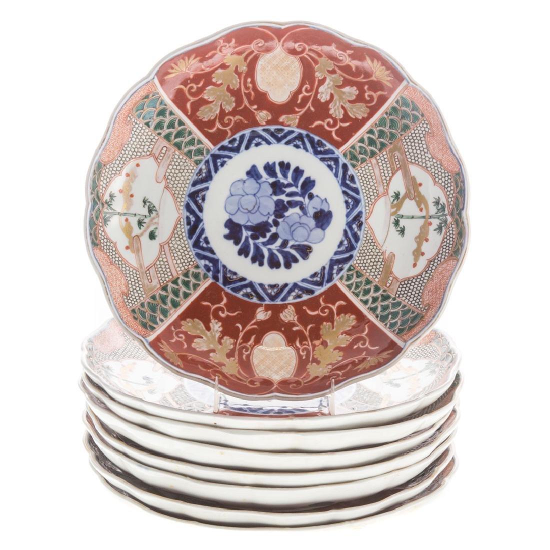 Eight Japanese Imari porcelain plates