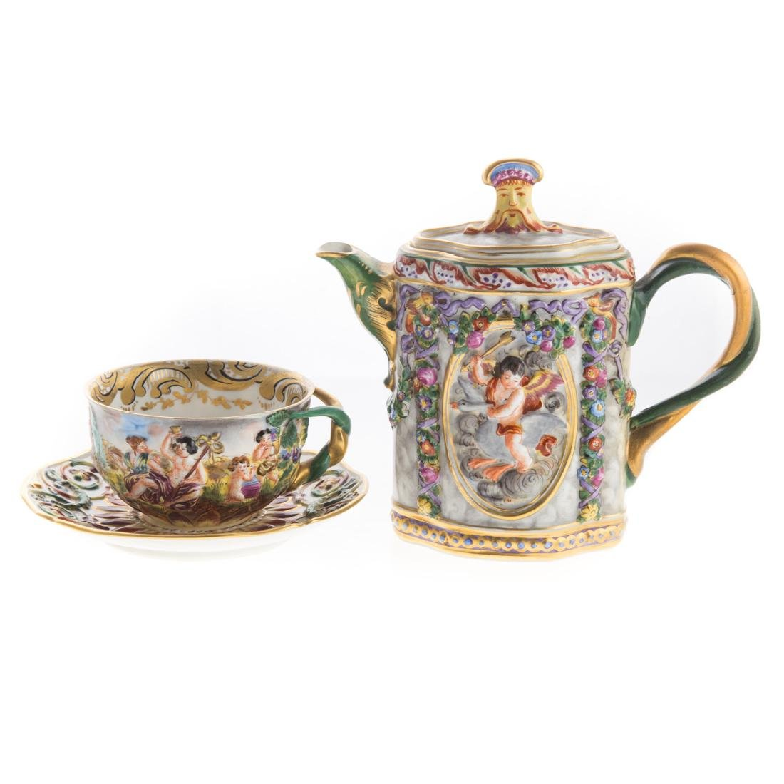 Five Capodimonte porcelain tea articles - 5