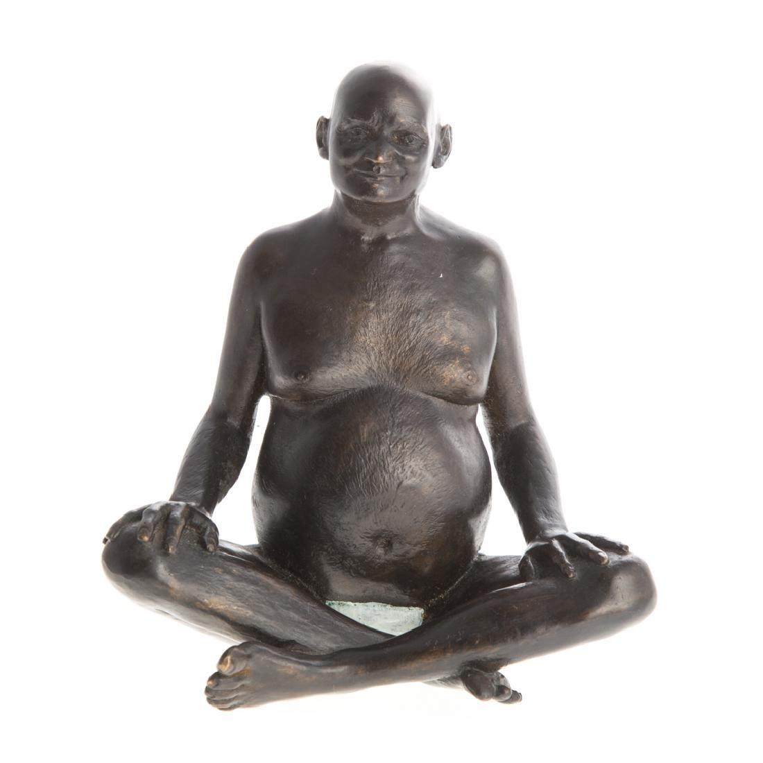 Indian bronze of seated Siddha Yogi