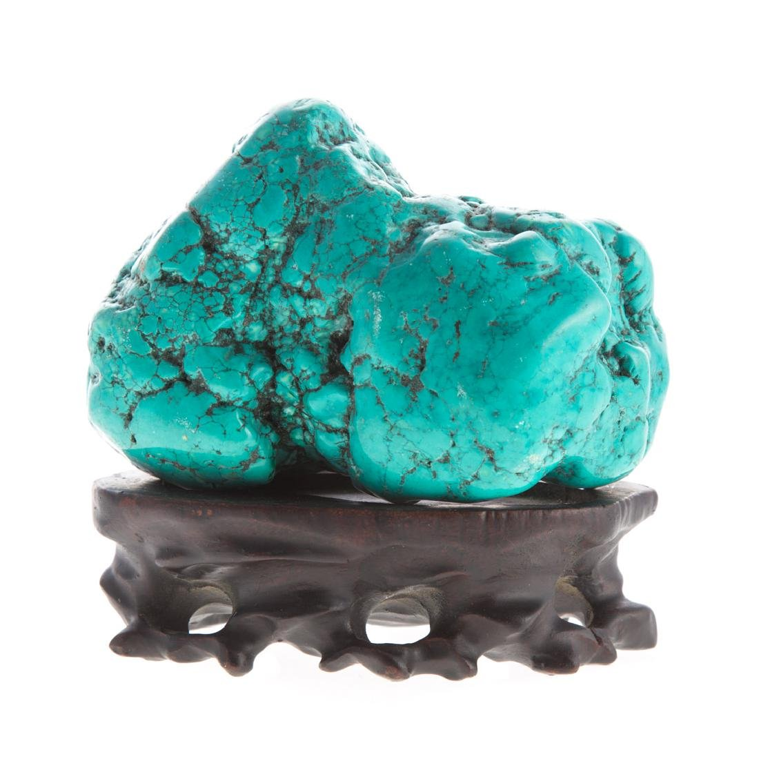 Chinese carved turquoise scholar's stone