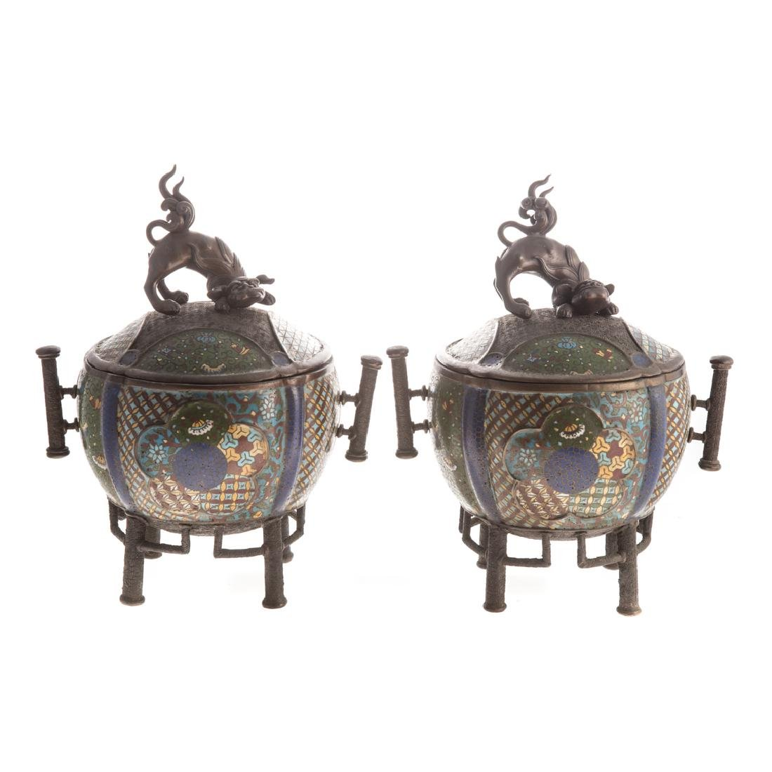 Pair of Chinese bronze and cloisonne censors
